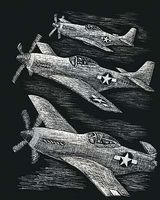 Royal-Brush Silver Engraving Art Fighter Planes Scratch Art Metal Art Kit #silf29