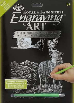 Royal Brush Manufacturing Silver Engraving Art Wolf Moon -- Scratch Art Metal Art Kit -- #silf33
