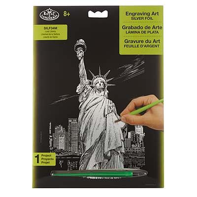 Royal Brush Manufacturing Silver EA Lady Liberty -- Scratch Art Metal Art Kit -- #silf34
