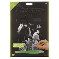 Royal-Brush Silver EA Penguins 2 Scratch Art Metal Art Kit #silf37