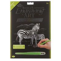 Royal-Brush Silver EA Zebras Scratch Art Metal Art Kit #silf39
