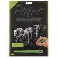 Royal-Brush Silver EA Elephant Herd Scratch Art Metal Art Kit #silf40