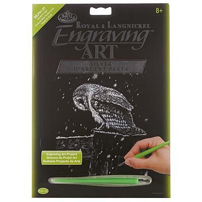 Royal Brush Manufacturing Silver EA Snowfall At Night -- Scratch Art Metal Art Kit -- #silf41