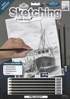 Royal-Brush Sketching Made Easy Fishing Boat 9x12 Drawing Kit #skbn2