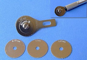 RB Rivet-R Riveting Tool w/4 Scribing Wheels- 0.75, 1, 1.25, 1.5mm (use w/hobby knife #1 handle)