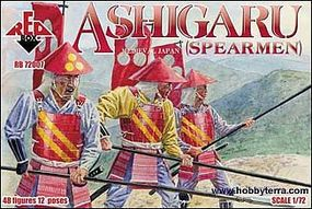 Red-Box Ashigaru Spearmen Medieval Japan (48) Plastic Model Military Figure 1/72 Scale #72007