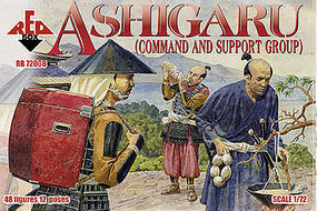 Red-Box Ashigaru Command & Support Group (48) Plastic Model Military Figure 1/72 Scale #72008