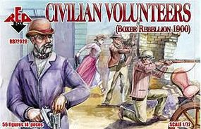 Red-Box Civilian Volunteers Boxer Rebellion 1900 (56) Plastic Model Military Figure 1/72 #72028