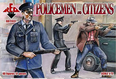 Red-Box Policemen & Citizens (48) Plastic Model Figure 1/72 Scale #72037