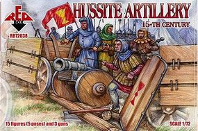Red-Box Hussite Artillery XV Century (15) Plastic Model Military Figure 1/72 Scale #72038