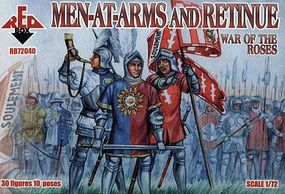 Red-Box War of the Roses- Men-at-Arms & Retinue (30) Plastic Model Military Figure 1/72 #72040