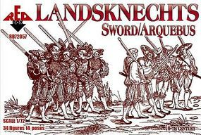 Red-Box Landsknechts with Sword/Arquebus Plastic Model Military Figures 1/72 Scale #72057