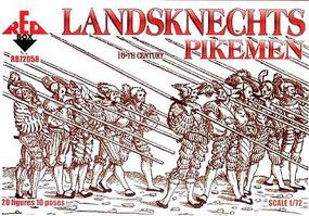Red-Box Landsknects Pikemen XVI Century Plastic Model Military Figures 1/72 Scale #72058