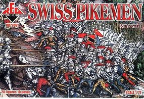 Red-Box Swiss Infantry Pikemen XVI Century Plastic Model Military Figures 1/72 Scale #72061