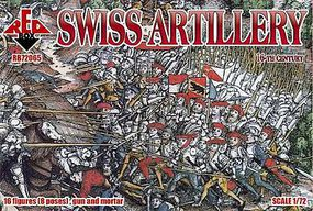 Red-Box Swiss Artillery XVI Century Plastic Model Military Figures 1/72 Scale #72065