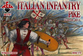 Red-Box 1/72 Italian Infantry Pikemen XVI Century Set #3 (24)