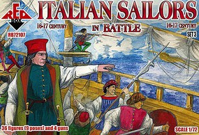 Red-Box 1/72 Italian Sailors in Battle XVI-XVII Century (36 w/4 Guns)