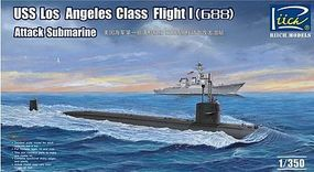 Riich USS Los Angeles Class Flight I 688 Attack Sub Plastic Model Military Ship Kit 1/350 #28005