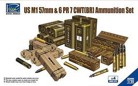 Riich US M1 57mm & 6 PR7 CWT(BR) Ammunition Set Plastic Model Weapon Set 1/35 Scale #30009