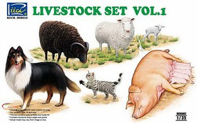 Riich 1/35 Livestock Set Vol.1- Sheep, Ram, Pigs w/Piglets, Dog, Cat
