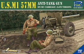 Riich US M1 57mm Anti-Tank Gun on M2 Carriage Plastic Model Military Vehicle Kit 1/35 #35020
