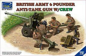 Riich British 6 PDR Anti Tank Gun with Crew Plastic Model Military Vehicle Kit 1/35 Scale #35042