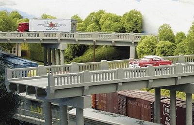 Rix Products 50' 1930's Highway Overpass w/Pier -- Model Railroad Bridge -- HO Scale -- #102