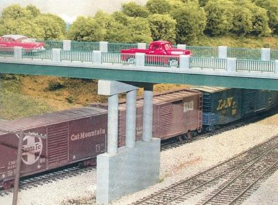 Rix Products 50' Wrought Iron Highway Overpass w/Adjustable Pier -- Model Railroad Bridge -- HO Scale -- #122
