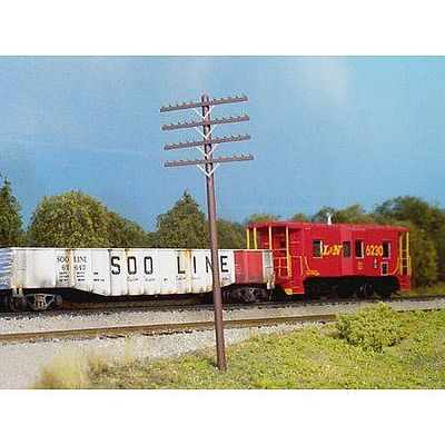 Rix Products Telephone Poles 4 arm -- Model Railroad Building Accessory -- HO Scale -- #6280034628-0034