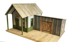 Railroad-Line Yardmasters Office & Shed N-Scale