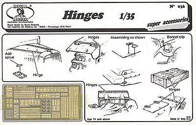 Royal-Model 1/35 Hinges, various types (Photo-Etch)
