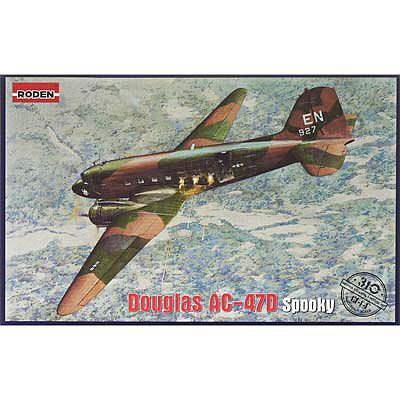 Roden AC47D Spooky US Ground Attack Aircraft Plastic Model Airplane Kit 1/144 Scale #310