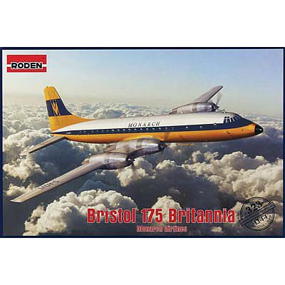 Roden Model Aircrafts Bristol 175 Britannia Monarch Airlines -- Plastic Model Airplane Kit -- 1/144 Scale -- #323