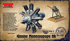 Roden Gnome Monosoupape 9B WWI Air-Cooled Rotary Engine Plastic Model Engine Kit 1/32 Scale #621