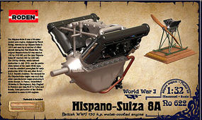 Roden 1/32 Hispano Suiza 8A WWI 150hp Water-Cooled Aircraft Engine