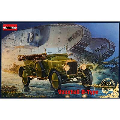 Roden Model Aircrafts Vauxhall D-Type Army Staff Car -- Plastic Model Military Vehicle Kit -- 1/72 Scale -- #735