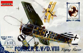 Roden Model Aircrafts Fokker E.V Flying Razor -- Plastic Model Airplane Kit -- 1/72 Scale -- #rd0004