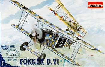 Roden Model Aircrafts Fokker D.VI -- Plastic Model Airplane Kit -- 1/72 Scale -- #rd0007