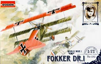 Roden Model Aircrafts Fokker Dr.I Triplane -- Plastic Model Airplane Kit -- 1/72 Scale -- #rd0010