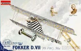 Roden Fokker D.VII Plastic Model Airplane Kit 1/72 Scale #rd0029