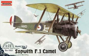 Roden Sopwith Camel F.1 Bentley Plastic Model Airplane Kit 1/72 Scale #rd0053