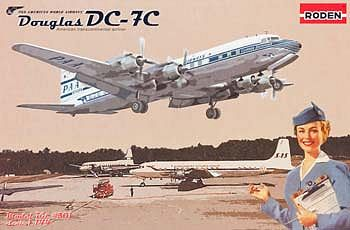 Roden Model Aircrafts Douglas DC-7C Pan Am -- Plastic Model Airplane Kit -- 1/144 Scale -- #rd0301