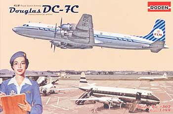 Roden Model Aircrafts DC-7C Royal Dutch Airlines -- Plastic Model Airplane Kit -- 1/144 Scale -- #rd0302