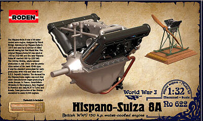 Roden Model Aircrafts Hispano Suiza 8A Engine -- Plastic Model Engine Kit -- 1/32 Scale -- #rd0622