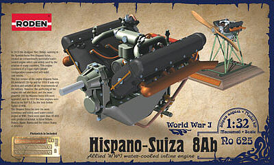Roden Model Aircrafts Hispano-Suisa 8AB Engine -- Plastic Model Engine Kit -- 1/32 Scale -- #rd0625