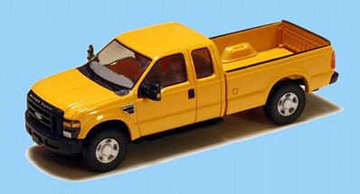 RiverPoint 2008 Ford F-250 Super Duty 4X4 Pickup Truck w/Super Cab & Long Box MOW Yellow, Black Grille & Bumpers, 18 Argent Wheels - HO-Scale