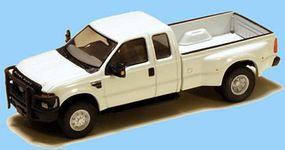 RiverPoint 2008 Ford F-350 Super Duty 4X4 Dual Rear Wheels w/Super Cab & Long Box MOW White, Black Grille & Bumpers, 18 Argent Wheels - HO-Scale