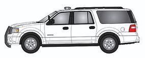RiverPoint Emergency 2007 Ford Expedition EL SSP SUV Unlettered - White w/Modern Light Bar & Black Push Bar - HO-Scale
