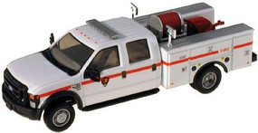 RiverPoint Ford F-550 XLT DRW Crew Cab Brush Fire Truck Assembled Park Service (white w/red stripe, black trim)