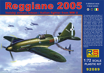 RS Models Reggiane Re2005 WWII Fighter -- Plastic Model Airplane Kit -- 1/72 Scale -- #92089